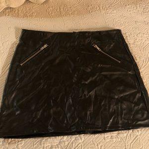 H & M Black faux leather mini skirt.